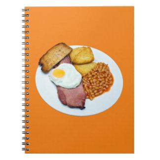 Schinken-Ei und Bohnen Spiral Notizblock
