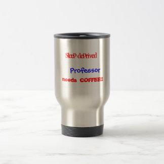 Schlaf-beraubter Professor benötigt Kaffee Reisebecher