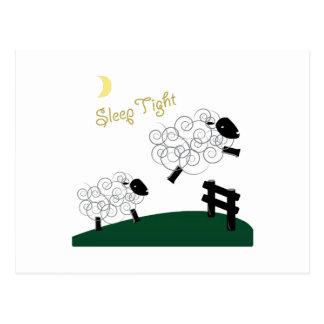Schlaf fest postkarte