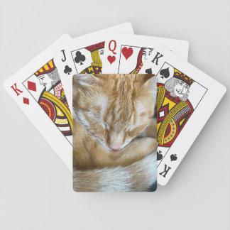 Schlafen orange Tabbykatze Spielkarten