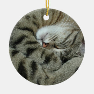 Schlafen Tiger-Katze Keramik Ornament