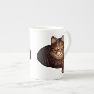 Schlafenbrown Tabby-Katzen-Knochen-China-Tasse Porzellantasse