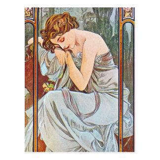 Schlafende schöne Frau Postkarte