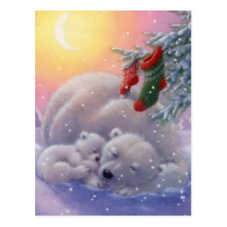 Schlafende WeihnachtsEisbären Postkarte