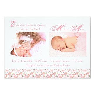 Schlafenengels-Mädchen-Geburts-Mitteilung 12,7 X 17,8 Cm Einladungskarte