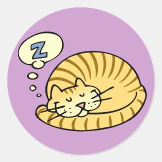 Schlafenkatze Runde Aufkleber