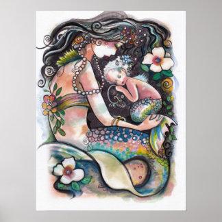 Schlafenmeerjungfrauen, -mamma und -kind poster