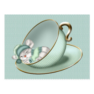 Schlafentee-Schalen-Maus Postkarte