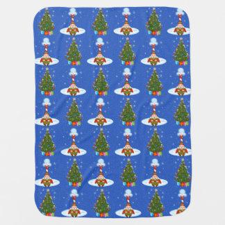Schläfrige Elf-u. Weihnachtsbaum-Baby-Decke Kinderwagendecke