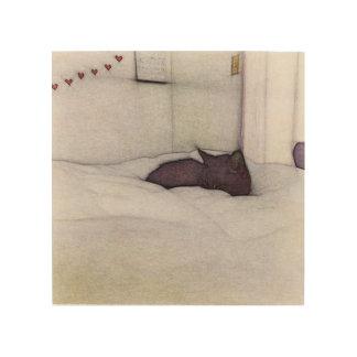 Schläfrige Katzenskizze Holzdruck