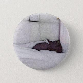 Schläfrige Katzenskizze Runder Button 5,7 Cm