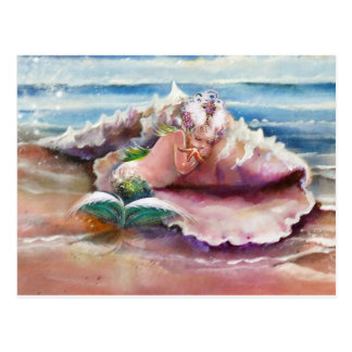 Schläfrige Meerjungfrau-Postkarte Postkarte