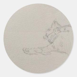 Schläfrige Miezekatze flüchtiges steeker Runder Aufkleber