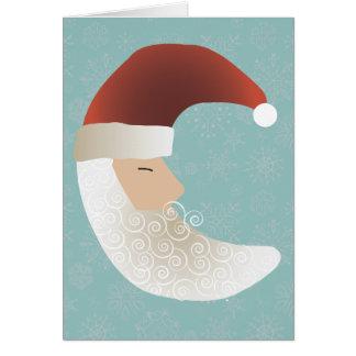 Schläfrige Sankt-Halbmond-Weihnachtsgruß-Karte Grußkarte