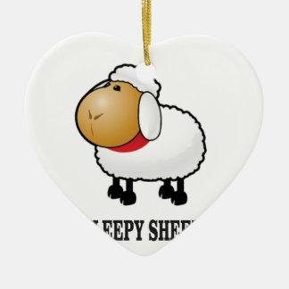 schläfrige Schafe Keramik Herz-Ornament