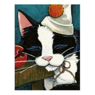 Schläfrige Smokings-Katzen-Clown-Postkarte Postkarte