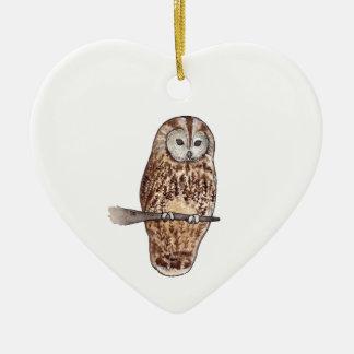 Schläfrige Tawny Eule Keramik Herz-Ornament