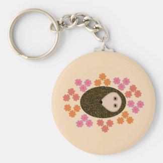 Schläfriger Igel und Blumen Keychain Schlüsselanhänger