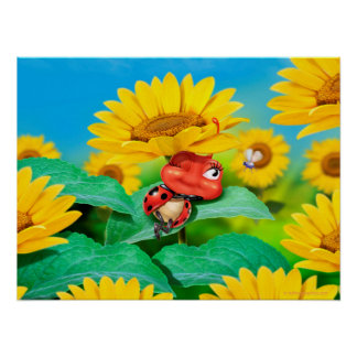 Schläfriger Marienkäfer und Sonnenblumen der Poster