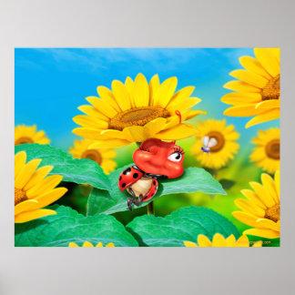 Schläfriger snoozy Marienkäfer und Sonnenblumen Poster