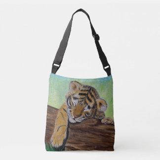 Schläfriger Tiger CUB Tragetaschen Mit Langen Trägern