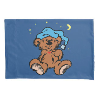 Schläfriger Zeit-Teddybär-blaue Nachtkappe Kissen Bezug