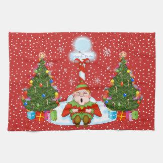 Schläfriges Elf-WeihnachtsGeschirrtuch Küchentuch