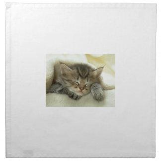 Schläfriges Nickerchen-Zeit-Kätzchen Stoffserviette