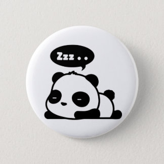 schläfriges Pandaknopf-Weiß backgroud Runder Button 5,7 Cm