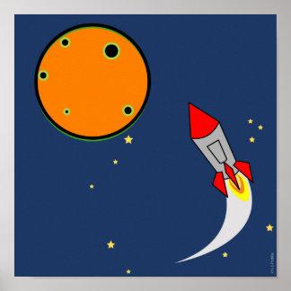 Schlafzimmerzeichen des Jungen der Weltraumrakete  Poster