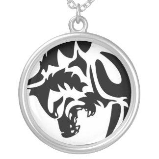 Schlag-Herz-Logo-Wolf Versilberte Kette