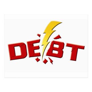 Schlagen Sie unten Schulden Postkarte