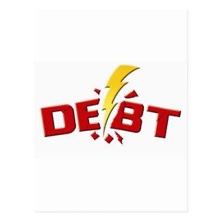 Schlagen Sie unten Schulden Postkarten