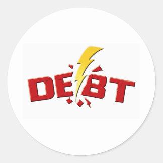 Schlagen Sie unten Schulden Runder Aufkleber