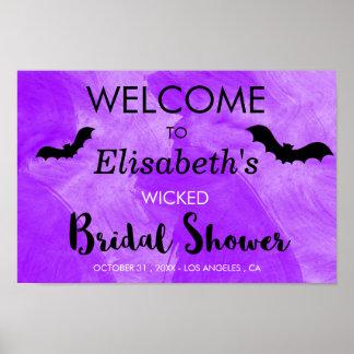 Schläger-lila schwarzes Brautparty-Halloween-Party Poster