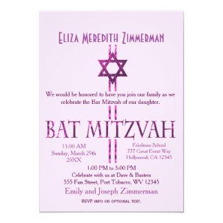 Schläger Mitzvah | Davidsstern | Rosa 12,7 X 17,8 Cm Einladungskarte