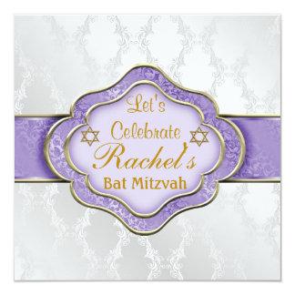 Schläger Mitzvah Einladungen LILA ELEGANTER DAMAST
