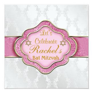 Schläger Mitzvah EINLADUNGS-ROSA WEISSER ELEGANTER Quadratische 13,3 Cm Einladungskarte