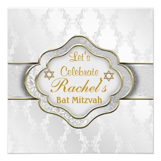 Schläger Mitzvah Einladungs-WEISSER ELEGANTER Ankündigung
