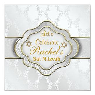Schläger Mitzvah Einladungs-WEISSER ELEGANTER Quadratische 13,3 Cm Einladungskarte