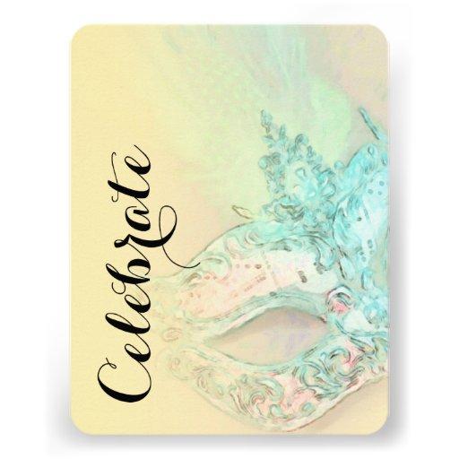 Schläger Mitzvah elegante gelbe Maske Einladungskarte