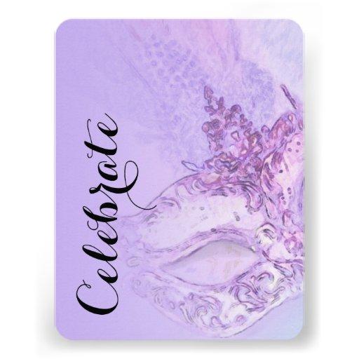 Schläger Mitzvah eleganter Masken-Lavendel Ankündigungskarten