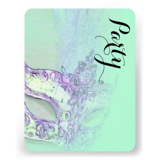 Schläger Mitzvah elegantes Masken-Aqua Einladungskarte