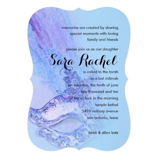 Schläger Mitzvah elegantes Masken-Blau Personalisierte Einladungskarte