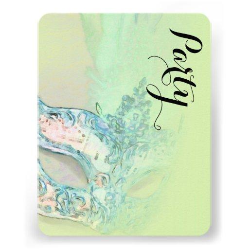 Schläger Mitzvah elegantes Masken-Grün Individuelle Ankündigungskarte