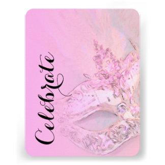 Schläger Mitzvah elegantes Masken-Rosa Einladungskarten