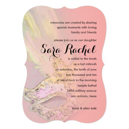 Schläger Mitzvah elegantes Masken-Rosa Einladung