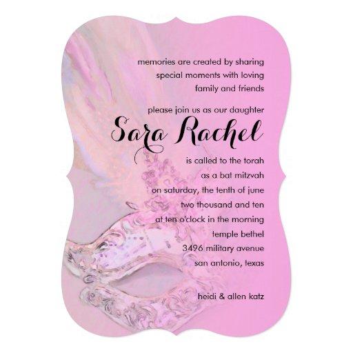 Schläger Mitzvah elegantes Masken-Rosa Personalisierte Ankündigungskarte
