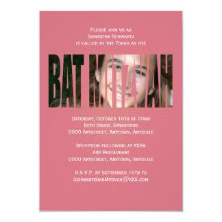 Schläger Mitzvah Foto-Einladung im Rosa 12,7 X 17,8 Cm Einladungskarte
