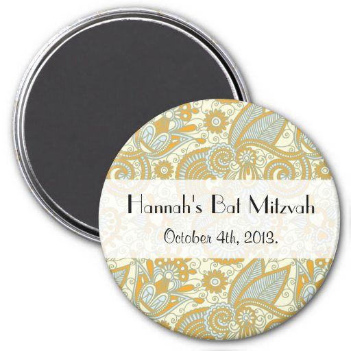 Schläger Mitzvah - Iraner Paisley, Wirbel - blaues Magnete